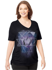 Just My Size Graphic Shirred Sides V Neck Tee Shirt  Heather Fabric 3X Black