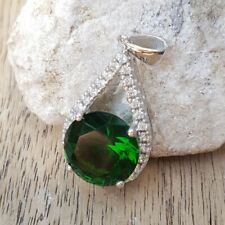925 Sterling Silver Green Spinel Cubic Zircon Gemstone Jewelry Necklace Pendant