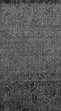 Cubic Modern Geometric CHARCOAL GRAY Moroccan Oriental Area Rug Hand-knotted 5x8