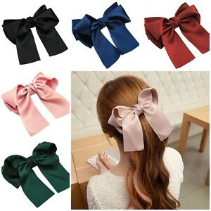 """6"""" Satin Double Tail French Barrette Bow Hair Clip Pins Clips Girls/Ladies"""