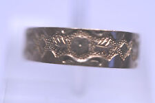ANTIQUE VICTORIAN 10K YELLOW GOLD ENGRAVED DESIGN CHILD BABY RING BAND - SIZE 2