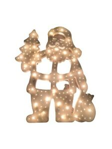 Lighted Santa Double Sided 36 Lights Sculpture Christmas Decor By Michael Chung