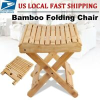 Folding Bathroom Shower Stool Seat Spa Bench Chair Bamboo Wood Bath Foot Rest US