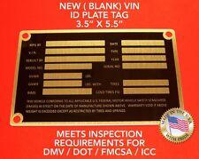 Larger V2 Blank Trailer Truck Equipment VIN frame Plate Serial Model ID Tag GVWR