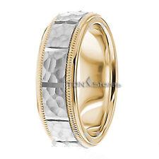 MENS 10K SOLID GOLD HAMMERED MILGRAIN WEDDING BANDS RINGS WOMENS HAMMERED RING