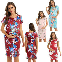 Women's Pregnant Maternity Floral Print Short Party Dress Casual Maxi Sundress