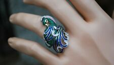 Ross-Simons Simulated Gemstone and CZ Peacock Ring in Sterling Silver