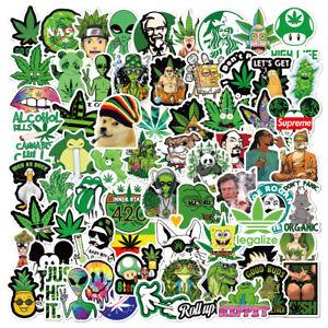 130pcs Weed Leaves Stickers Smoking Graffiti for Skateboard Luggage Laptop USA!