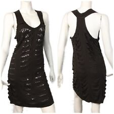 Brown Sequin Cutout Racer Back Tank Top Dress size S Distressed Party Monoreno
