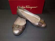 Designer SALVATORE FERRAGAMO Gold Leather Ballet Flat Shoes 7-1/2 ITALY Worn