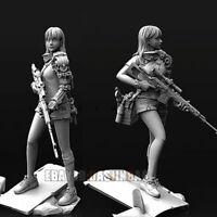 Unpainted 1/35 Sniper Female Beauty Girl Resin Figure Model Kit Unassembled GK