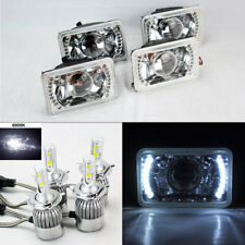 "FOUR 4x6"" Glass Clear Projector DRL Headlights w/ 6K 36W LED H4 Bulbs Oldsmobile"