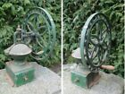 19th Antique Huge Cast Iron Coffee Grinder / Spice Mill With Wheel Handle RARE!