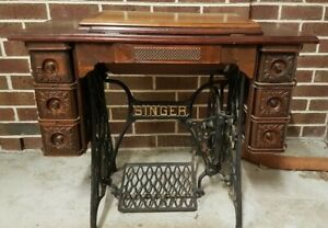 Vintage Singer Sewing Table With Cast Iron Stand