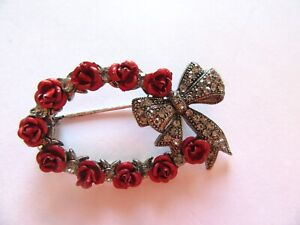 Fashion Pin/Brooch- Oval Wreath- Red Roses- Marcasite like bow rhinestones
