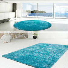 Hochflor Langflor hochwertiger Teppich Uni Shaggy modern Hellblau 200x290