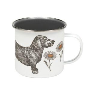 Thornback & Peel Enamel Mug Sausage Dog & Daisy Coffee Cup