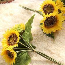 Pop Artifical Silk Yellow Sunflower Bouquet Home Wedding Party Decor Props Craft