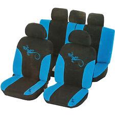 UniTEC Auto Sitzbezüge Set Reptilia Sitzbezug Blau Kopfstützen Rücksitz Airbag