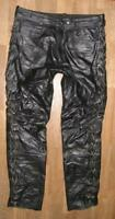 """ Hein Gericke "" Lace-Up Leather Jeans / Biker Trousers IN Black Approx. W35 ""/"
