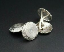 "Mens Vintage Mixed Metal Ornate Platinum Fronted Cufflinks 0.6"" WBK M949"