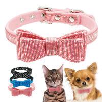 Small Dog Bowtie Collar Soft Velvet Pet Puppy Cat Necklace Chihuahua Schnauzer