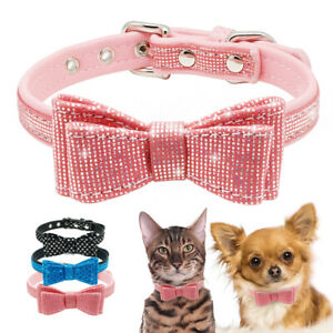 Bling Dog Bow-tie Collar Soft Leather Dog Collar for Cats Puppy Chihuahua Pink