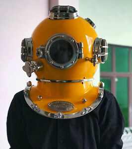 "Vintage Diving Helmet Deep Sea Scuba Diving helmet Yellow 18"" free Shipping"