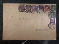 1922 Darmstadt Germany inflation rate Cover To Biebrich Colorful Stamps
