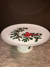 Vintage Lefton China Holiday Pedestal Cake Stand White W/ Holly And Cardnials