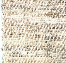 SILK Tweed like FABRIC 34 inch Hand Spun Woven Brown Beige White Fringe NEW