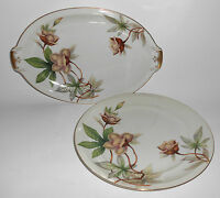 Meito China Japan Woodrose Platter & Dinner Gold Rim Mint
