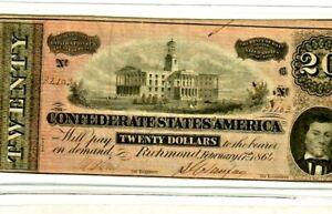 "$20 ""CONFEDERATE"" 1800'S $20 (1800'S) ""CONFEDERATE""(BEAUTY) SUPER CRISPY !!!!!!!"