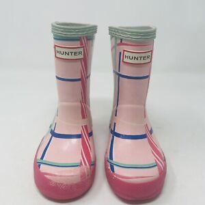 Hunter Kid's First Rock Tartan Rain Boot Size 7 Pink