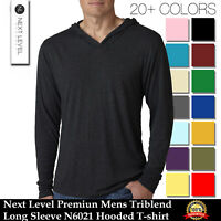 Next Level Apparel Premiun Mens Triblend Long Sleeve N6021 XS-2XL Hooded T-shirt