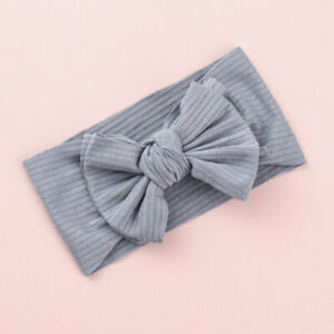 Children Solid Color Knot Bow Elastic Turban Headband Hair Wrap Accessories