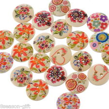 100 Mixed Wood Painting Sewing Buttons 15mm B10608