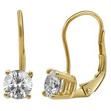 Ladies 14K Yellow Gold Genuine Diamond Solitaire LeverBack Dangle Earrings 1.0CT
