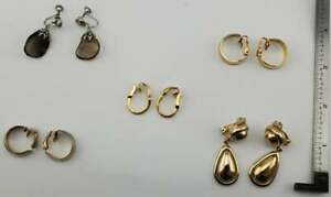 Vintage Lot of 5 pairs Clip Screw-back Earrings Fashion Jewelry (J9#2)(Lot 17)