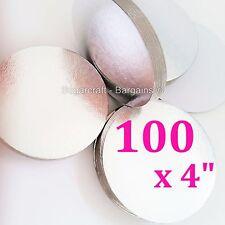 "100 x 4"" SILVER ROUND THIN CUT EDGE cake cupcake boards cards sugarcraft CULPITT"