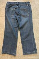 Chico's Womens Platinum Embellished Capri Crop Denim Blue Jeans Med Wash Size .5