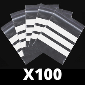 100x Write On Panel SEED STORAGE Zip Lock Bags - Three Sections For Writing On