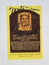 Monte Irvin HOF Plaque Post Card Autographed by Both Monte Irvine & Willie Mays