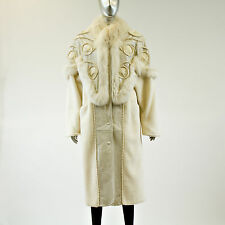 Off White Leather/Fox/Alpaca Fur Coat with Cotton Trim - Size S - Pre-Owned