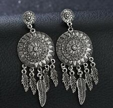 Fashion Vintage Women Rhinestone Peacock Eye Feather Dangle Hook Earrings Gift