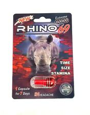 Energy Supplement for Men- R H I N O 69- Natural and Original- Pack of 6- RHINO