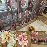 ITS- Home Textile Flower Embroidered Dramatic Fabric Tulle Sheer 3D Window Curta