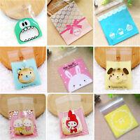 100PCS Cookie Packaging Christmas Cartoon Plastic Self Adhesive Gift Bags Sets