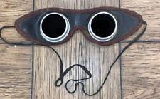 Antique Leather Welding Glasses Goggles Green Lens Still Work Glass No Scrat