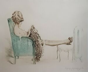 ORIGINAL Signed Maurice Millière Erotic Etching - A Young Lady Warming Herself
